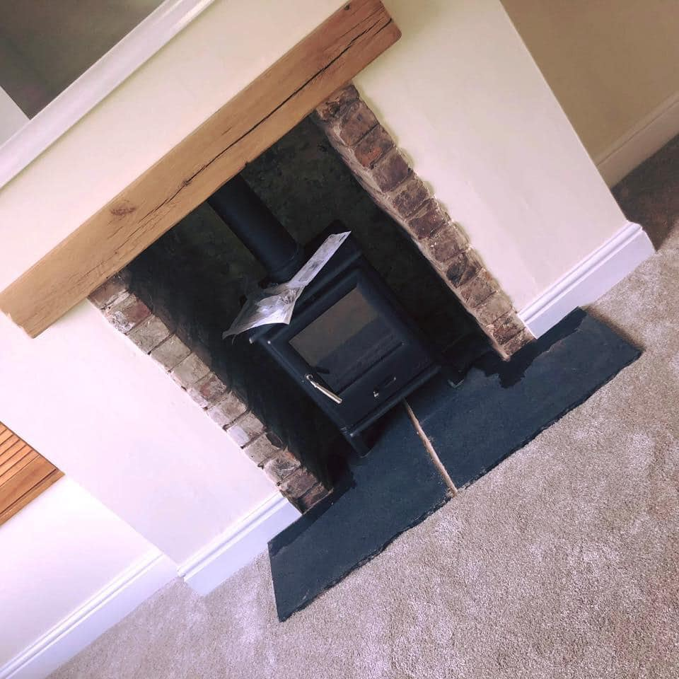 black stone hearth